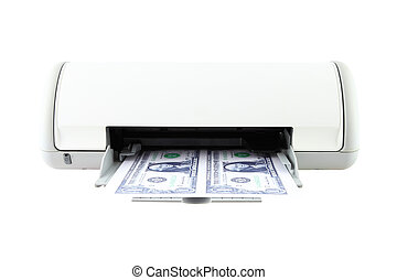 Banknote from printer on white background.