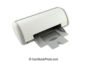 Side of empty tray printer on white background.