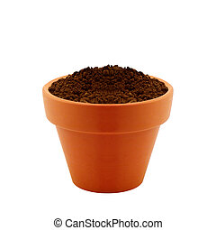 clay pot with Soil isolated on white background.