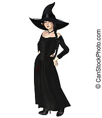 Young Witch in Black Hat and Dress - Young witch wearing a...