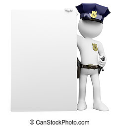 3D Police with a blank poster Rendered at high resolution on...