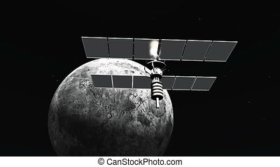 man-made satellite and moon