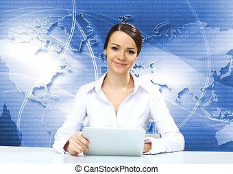 Young businesswoman making presentation - Portrait of a...