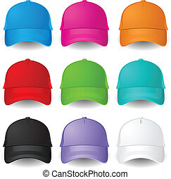 Set of Baseball caps Illustration on white background