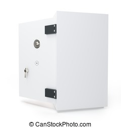 3d open safe box protection concept on white background