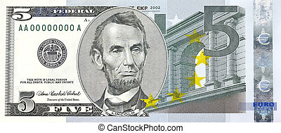 Bill of former five-dollar bill combined with five Euros -...