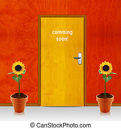closed door with coming soon mesage - coming soon conceptual...