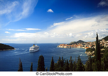 Cruise ship in front of Dubrovnik - Big cruise ship in front...