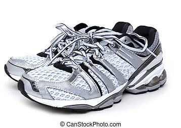Athletic Shoes - pair of running shoes white background