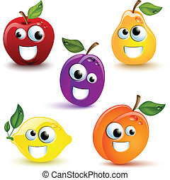Funny Fruits - Set of five funny fruits with mmouth and eyes