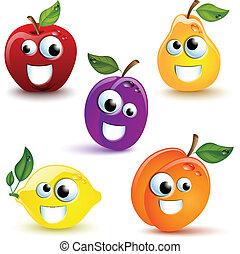 divertido, frutas