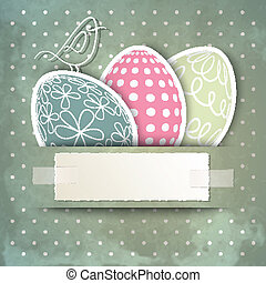 Happy Easter - Template for happy Easter card with eggs,...