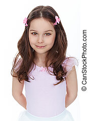 Adorable girl - Vertical portrait of a charming girl smiling...