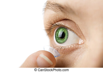 beautiful human eye and contact lens isolated