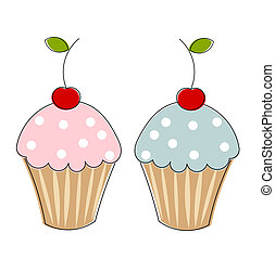 Two cupcakes with cherries. Vector illustration