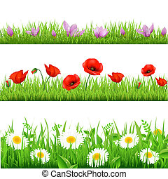 Flower Set - 3 Flower Border With Grass, Isolated On White...