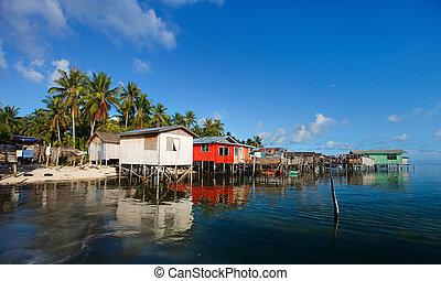 Sea gypsy village - Traditional sea gypsy village at...