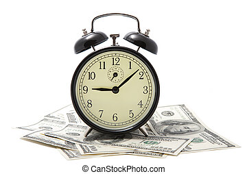alarm clock over heap of money isolated