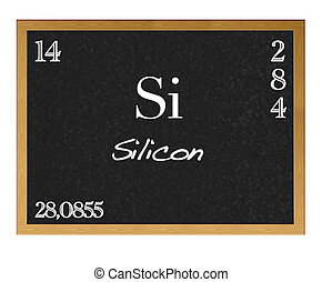 Silicon - Isolated blackboard with periodic table, Silicon