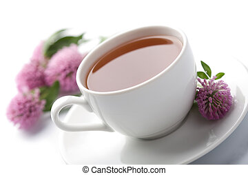 white cup of herbal tea and clover flowers isolated