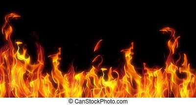 fogo, isolado, sobre, pretas, fundo