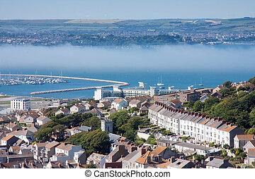 Chesil beach, Weymouth, England - Aerial view of Chesil...
