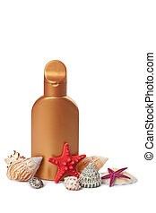 suntan lotion and sea shells isolated