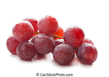 ripe grapes with water drops isolated