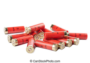 shotgun cartridges isolated over white