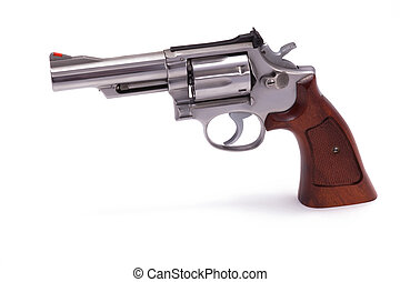 Revolver Isolated on White - A stainless steel 357 caliber...