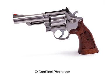 branca,  revólver, isolado