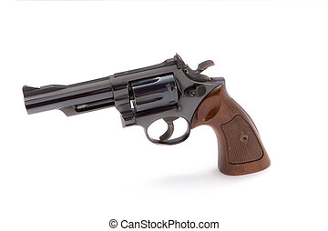 Revolver Isolated on White - A blue steel .357 caliber...
