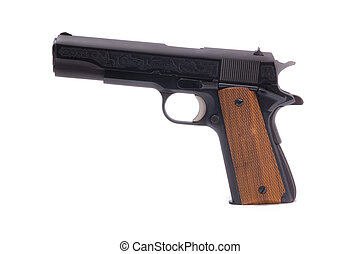 Semi-automatic Handgun - A photo of a modern semiautomatic...