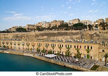Valletta, Malta Harbor - Photo of the harbor at Valletta,...