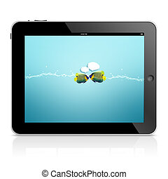 ipad tablet computer isolated on black background