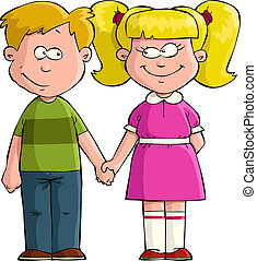 Boy with girl - Boy and girl holding hands vector...