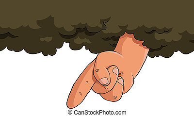 Cartoon God - The hand of God from the cloud vector