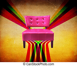 Red armchair with grunge background - Red leather armchair...
