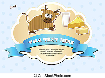 Label with cow, milk, cheese and butter Vector illustration...