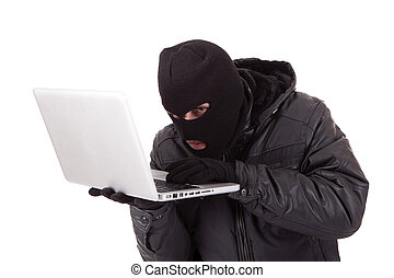 Hacker - Computer hacker with white laptop