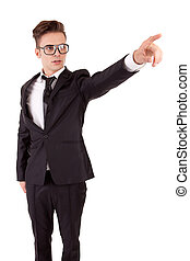 Business man, pointing forward