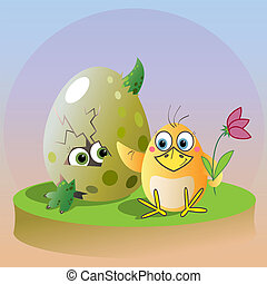 chicken and big egg