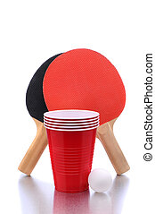 Ping Pong Paddles and Ball and Cups