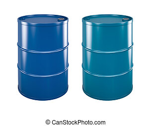 coloured steel barrels - two coloured steel barrels on white...