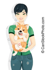 Woman hugging her cute corgi dog - Young woman hugging her...