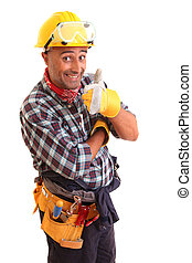 Happy construction worker, isolated on white