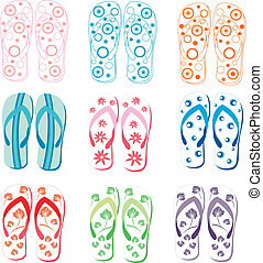 Slipper summers - Decorative slippers summer, floral...