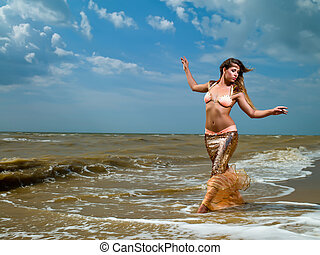 mermaid girl - Young beautiful girl in the image of a...