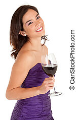 Woman Holding a Glass of Wine - A beautiful woman in a...