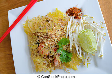 Delicious Phad Thai - Famous Thai noodle with shirmp covered...